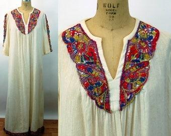1970s caftan gauze embroidered maxi dress v neck Elfriede for Mitch Robert Size M/L