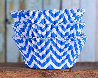 Royal Blue Chevron Cupcake Liners, BakeBright Cupcake Liners, Blue Cupcake Liners, Blue Baking Cups, Cupcake Cases, Cupcake Wrappers (50)