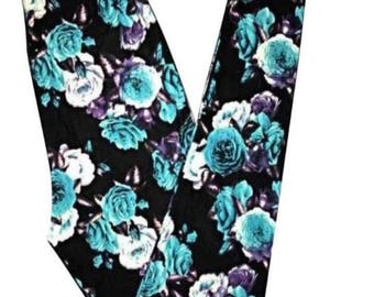 PLUS Size Fits Adults Size 12-20 Black Teal Floral Leggings