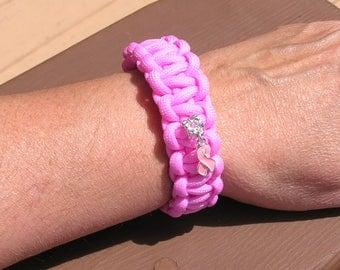 Breast Cancer Support Paracord Bracelet, Women's, Light Pink, Support Team, L