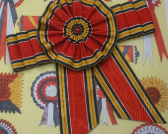Red Blue Yellow and White Gathered Cocarde Cockade Applique Millinery Military Reenactment