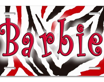 Zebra Auto License Plate Black Red Personalize Gifts Ladies Girls Exotic Jungle Zebras Animals