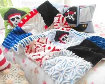 PIRATE SKULL CROSSBONES Quilted Fabrics Minky And Vintage Chenille Patchwork Baby Quilt Set Of 3