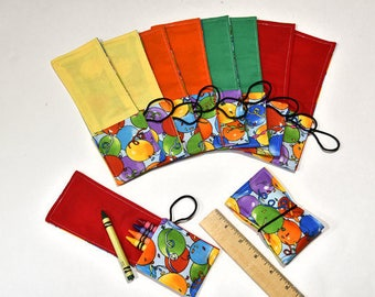 Birthday Party Favors RESERVED 10 Crayon Roll Up Wrap Crayon RollUps Holders with Cover, Crayon Rollup, Crayons not included