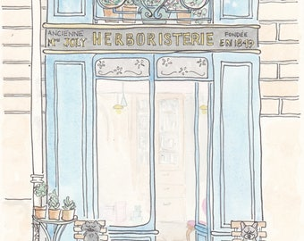 Paris Print - Herboristerie Aqua Shop in Paris, Paris illustration art giclee print