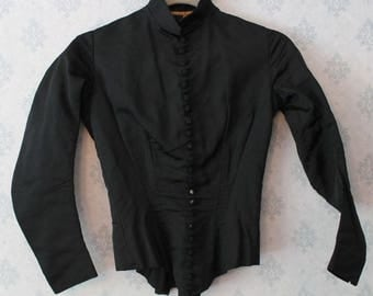 Antique Victorian 1870s to 1880s Victorian Black Boned Women's Jacket
