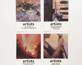 """SET 2 """"What do artists do?"""" pack of 4 postcards"""