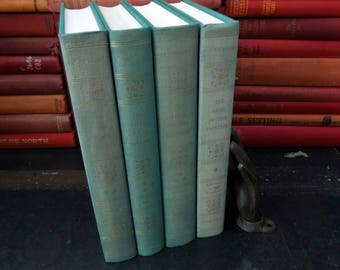 Books on Art History - John Canaday First Editions The Lives of The Painters in Four Volumes - Green Books for Decor Vintage 1969