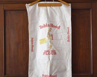 Vintage Robin Hood Flour Sack 100 lb 3 color Faded Sack