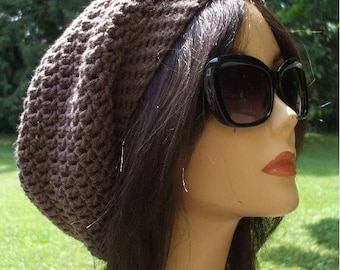 Awesome Slouchy Hat...Celebrity Style... Unisex Men Women Beret Tam....Totally Taupe....Ready to Ship