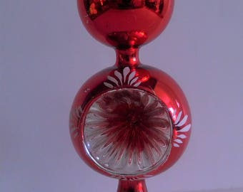 Red Reflector Blown Glass Finial - Vintage Mercury Glass Double Tree Topper