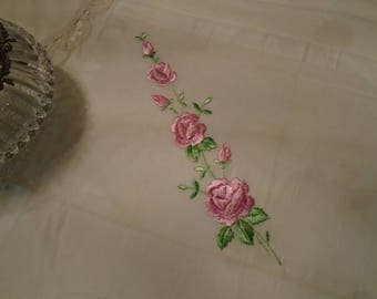 Handkerchief White  Semi   Sheer Cotton Hand Stitched Pink Roses