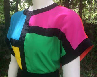 Mondrian colour-blocked top // polyester // xl // plus-size // 16 // graphic