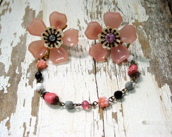 HANDMADE SWEATER CLIP - Upcycled Vintage Pink Flower Earrings, Rosary Style Chain, Cardigan Clip, Sweater Clip, Repurposed Earrings