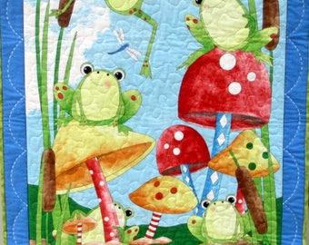 Frog Nursery Decor, Nursery Wall Hanging, Quilted Wall Hanging, Gender Neutral Nursery Decor