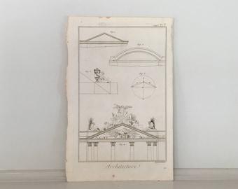 1751 ENTABLATURE architecture original antique french building engraving - entablature details DIDEROT architecture print