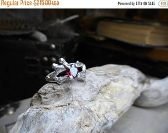 The Valentine Tree. Rustic Tree Branch Handmade Engagement Ring 3/4 CT Heart Shaped Red Garnet Solitaire Ring Unique Twig Ring Lost Wax Cast