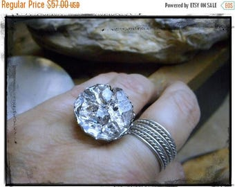 SALE Aether. Herkimer Diamond Cluster Ring.