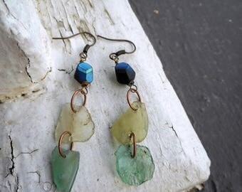 SALE Atlantis. Genuine Ancient Roman Sea Glass Artifacts & Matte Black and Mystic Cobalt blue  Crystal Dangle earrings. ooak.