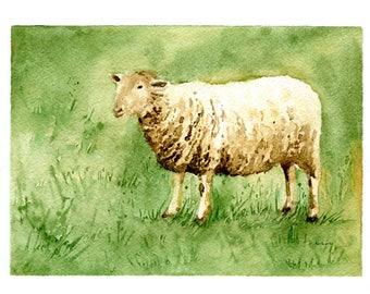 Original 5 x 7 Watercolor Painting of a Sheep at Daybreak