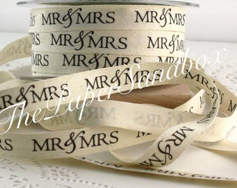 """Mr & Mrs Printed Ribbon, 1/2"""" wide by the yard, Cotton Twill Ribbon, Wedding, Bridal Shower, Gift Wrapping, Party Supplies, Patterned Ribbon"""