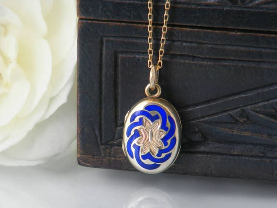 Petite Victorian Locket | Gold & Royal Blue Enamel Antique Locket | Reversible Small Oval Locket | Glass Covered Reliquary - 20 Inch Chain