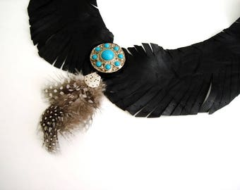 Leather Feather necklace, Feather wings necklace, Statement Necklace, Feathers Necklace turquoise beaded