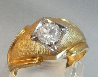 SALE Vintage Men's Ring. Large CZ Solitaire. 14k Gold Electroplated.