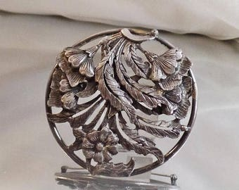 BIG SALE Vintage Large Pewter Flower Brooch.  Big Round Floral Pewter Pin.