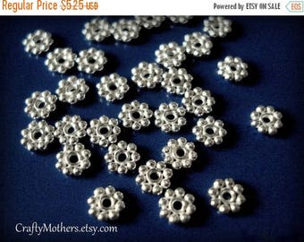 7% off SHOP SALE 10 pieces, 5mm Bali Bright Sterling Silver Daisy Spacer Beads, Artisan-made supply, earrings, necklace, bracelet