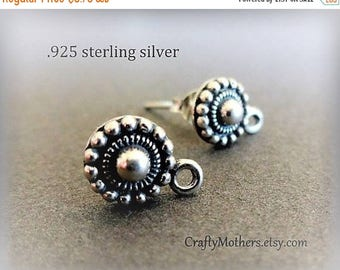 7% off SHOP SALE ONE pair Bali Sterling Silver Granulated Earring Posts, 8mm x 11.5mm, (2 pieces), Artisan-made - Flat Rate Shipping