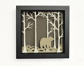 Bear art, papercut, papercutting designs, shadow box, forest art, shadow box art, wall decor, unique wedding gift, shadow box art, gift for
