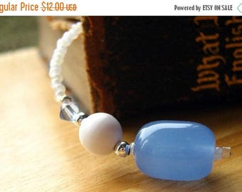 SUMMER SALE Beaded Bookmark Book Thong Book Charm in Cornflower Blue. Handmade.
