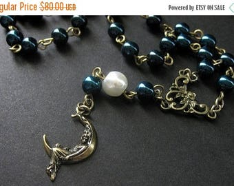 BACK to SCHOOL SALE Moon Necklace. Pearl Necklace. Midnight Blue Necklace. Bronze Necklace. Rosary Style Necklace. Art Nouveau Necklace. Han