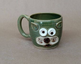 Veterinarian Gift Coffee Mug. Funny Animal Face Mug by Nelson Studio. Handcrafted Microwave and Dishwasher Safe Stoneware Pottery in Green.