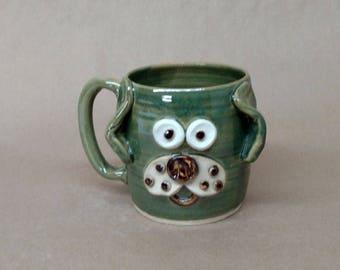 Green Dog Mug. Funny Face Cups Handmade  Microwave and Dishwasher Safe Stoneware Pottery by Ug Chug Mugs. Everyday Tea Mug. 20 Ounces.