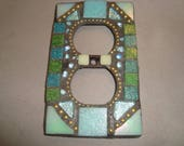 MOSAIC Electrical Outlet COVER , Wall Plate, Wall Art, Shades of Green, Glittery Aqua, Gold