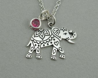 Elephant - Elephant Necklace - Sterling Silver Elephant Necklace, Elephant Jewelry, Indian Elephant, Birthstone Necklace, Yoga Gifts