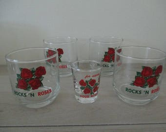 Four 4 Roses Blended Whiskey Glasses and Shot Glass 1950's