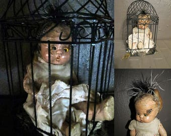 Creepy Doll, Old composition Doll in Bird Cage, Light Up, Repurposed Morphed Doll Caged Doll Halloween Decor, Haunted Doll, Goth Horror Doll
