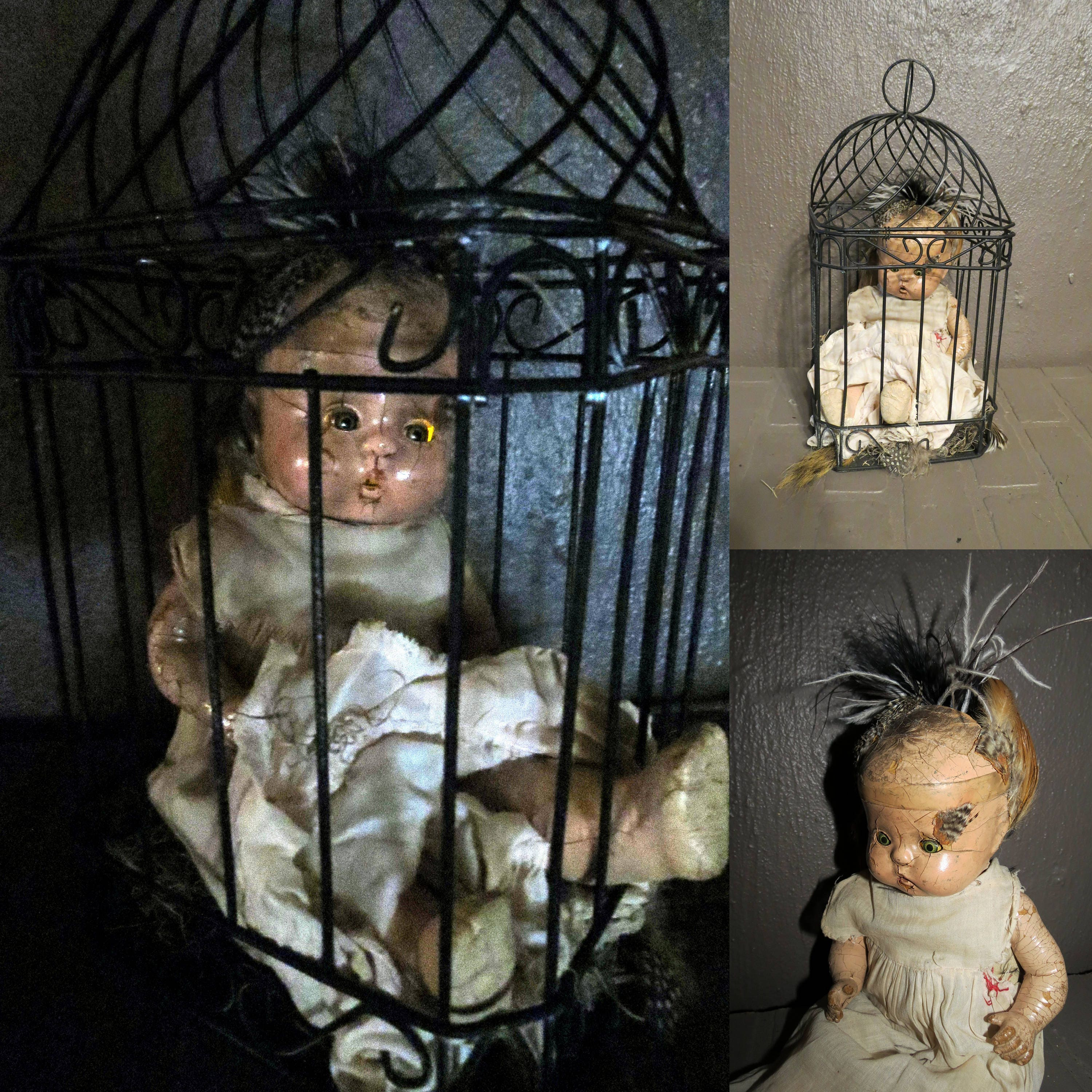Creepy Doll Old Composition Doll In Bird Cage Light Up