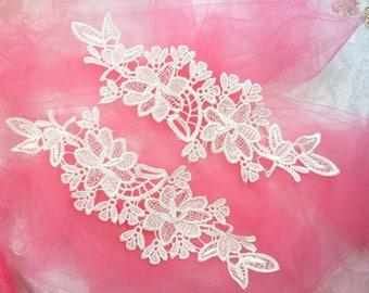 """Embroidered Lace Appliques White Floral Venice Lace Mirror Pair 10"""" (DH87X-wh)"""