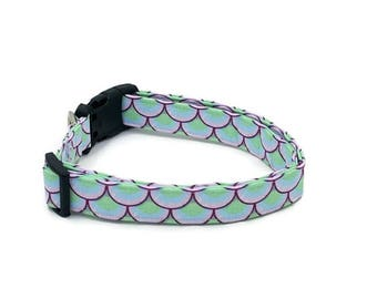 Mermaid Scales Pink Blue and Green Dog Collar