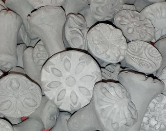 8 TEXTURE pottery STAMPS for CLAY  Bisque! use with Fimo, pmc, fondant, kids play dough, sculpey & more Great sample size set!