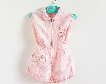 "Vintage 1960s Girls Size 3 Playwear / Wonderalls Romper / w15-20 L19"" / Pink White Gingham Seersucker Hatched Chick Embroidery"