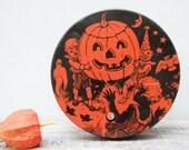 Antique Litho Tin Halloween . Children & Pumpkin . Orange Black  . Noise Maker.  . Vintage Halloween .  Collectible . Made In USA