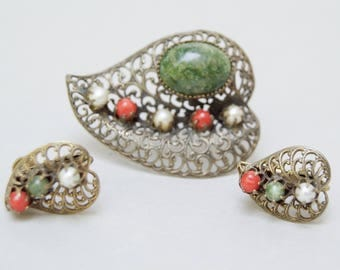 Antique Filigree Pin Set . Green Stones , Faux Pearl Stones. Unique