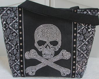 Biker Skulls Large Tote Bag Rhinestone Skulls Shoulder bag Alternative Fashion Purse Ready To Ship
