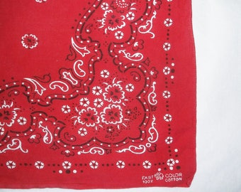 Vintage Red trunk up Cotton Bandanna • floral paisley