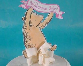 Custom Classic Pooh bear cake topper, banner, Winnie the Pooh, baby girl shower H161